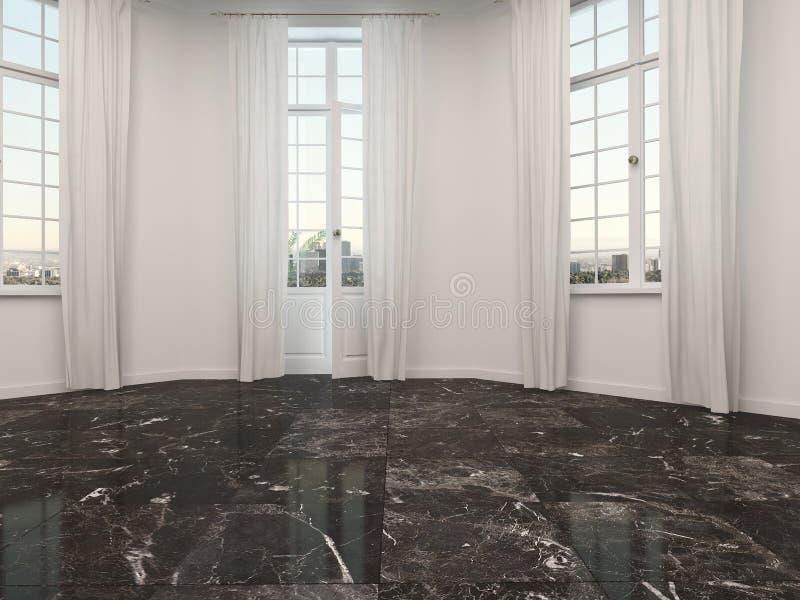 Sala vazia com as portas de mármore do assoalho e do pátio ilustração stock