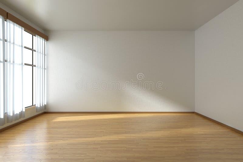 Sala vazia com assoalho e janela de parquet ilustração do vetor