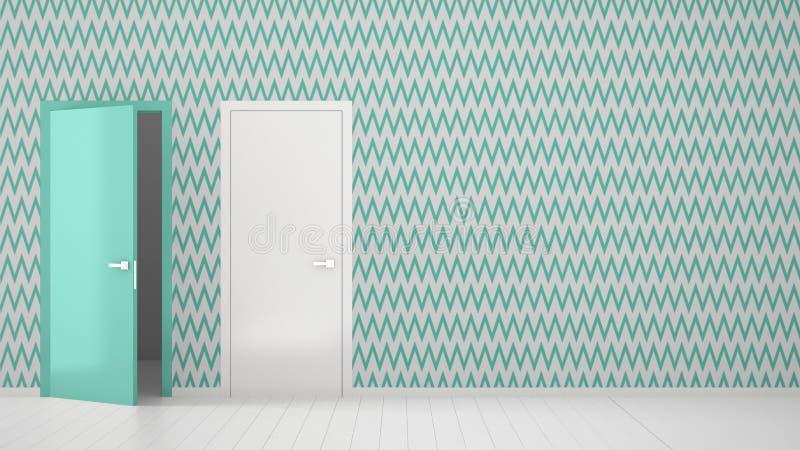 Sala vazia com branco e design de interiores do papel de parede de turquesa com a porta aberta e fechado com quadro, assoalho bra ilustração do vetor