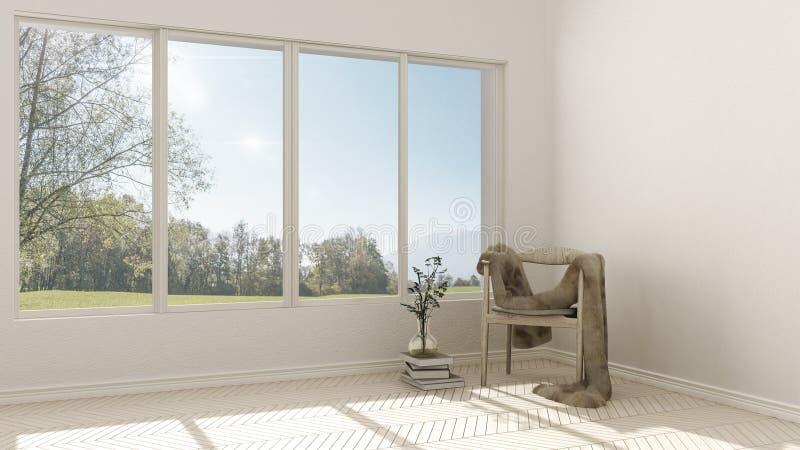Sala vazia com a cadeira de madeira com sofá da pele e grande sagacidade da janela ilustração royalty free