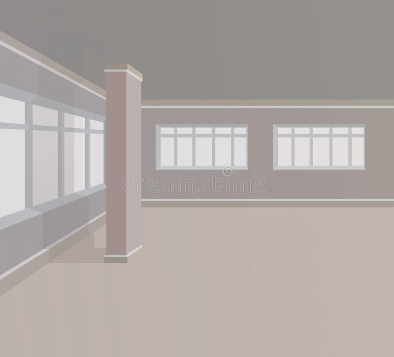 Sala vazia com colunas e as grandes janelas Ilustração do vetor ilustração royalty free