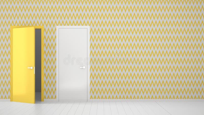 Sala vazia com design de interiores branco e amarelo do papel de parede com as portas abertas e fechados com quadro, assoalho bra ilustração royalty free