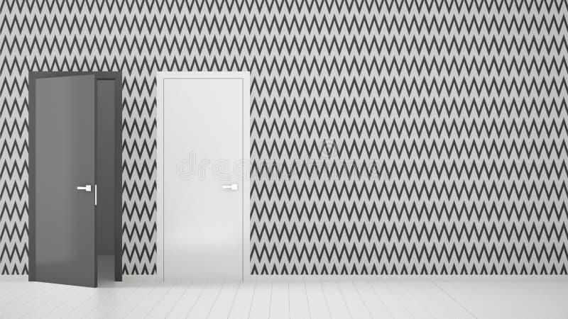 Sala vazia com design de interiores branco e cinzento do papel de parede com as portas abertas e fechados com quadro, assoalho br ilustração royalty free