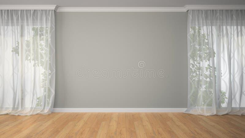 Sala vazia com duas cortinas fotografia de stock
