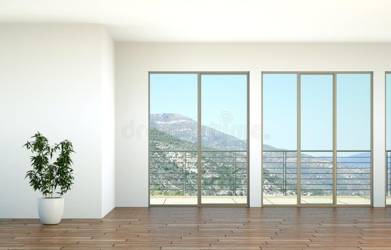 Sala vazia com janelas grandes e vista ozean ilustração royalty free