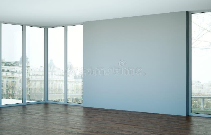 Sala vazia com janelas grandes e vista ozean ilustração stock