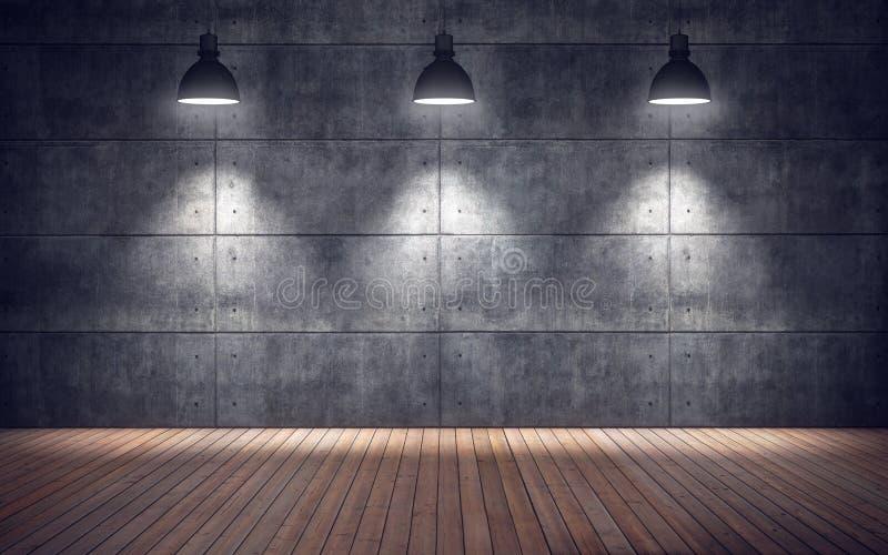 Sala vazia com lâmpadas assoalho de madeira e parede das telhas concretas ilustração royalty free