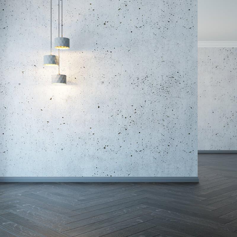Sala vazia com luzes, rendição 3d ilustração stock