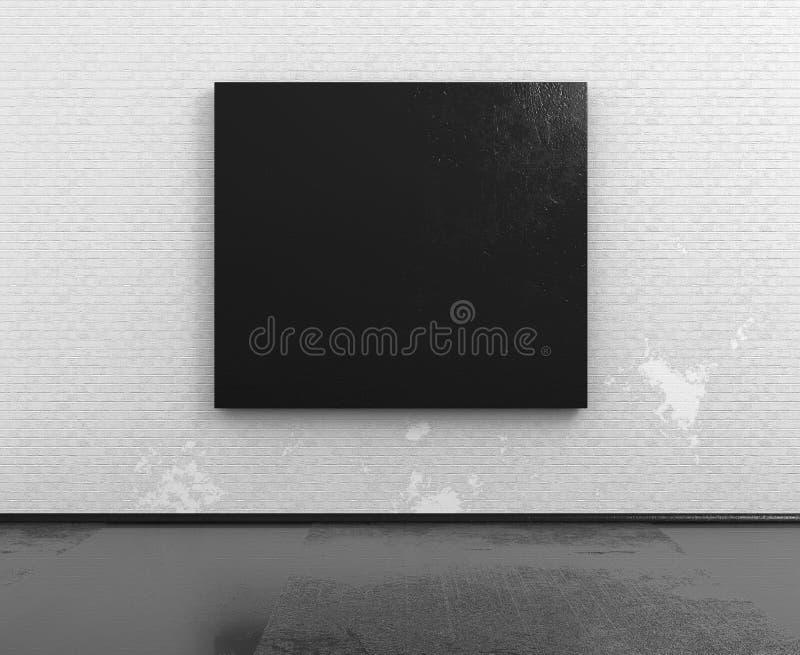 Sala vazia com modelo preto do quadro 3d ilustração royalty free