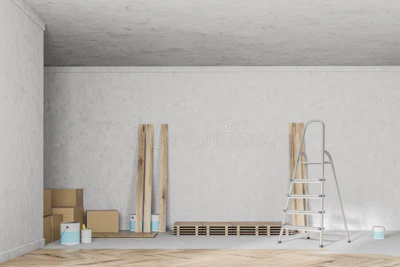 Sala vazia com o assoalho de madeira inacabado, escada ilustração do vetor