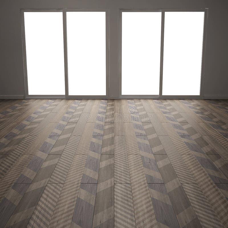 Sala vazia com o assoalho de parquet de madeira, desenhos em espinha diagonais, mini ilustração royalty free