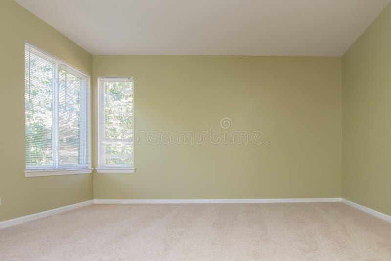 Sala vazia com o assoalho de tapete de 2 janelas fotos de stock royalty free