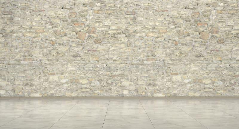 Sala vazia com o assoalho do parede de tijolo e o de mármore, rendição 3d imagens de stock