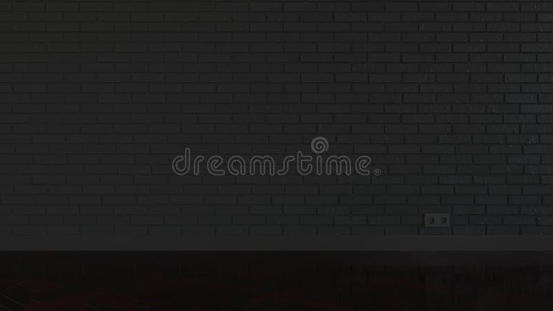 Sala vazia com o revestimento da parede e do parquet de tijolo ilustração do vetor