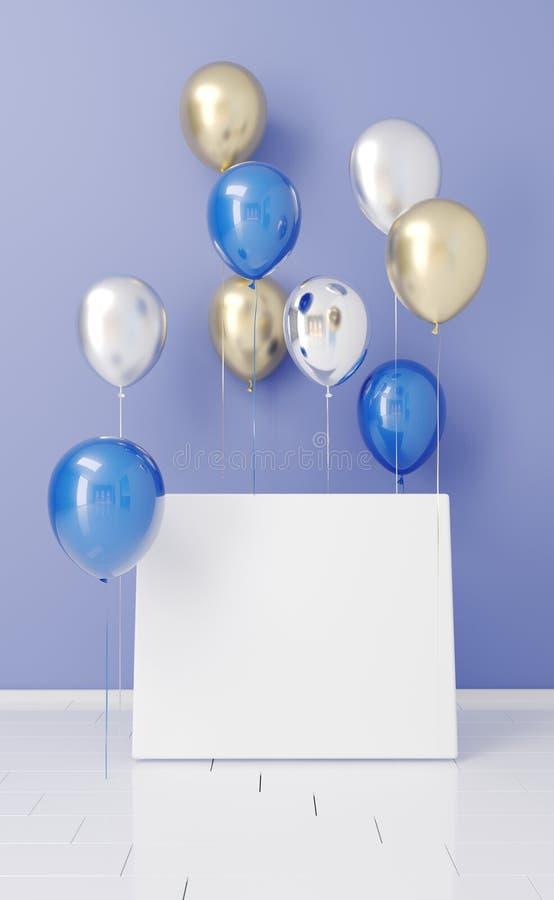 Sala vazia com os balões com placa branca vazia rendição 3d ilustração do vetor