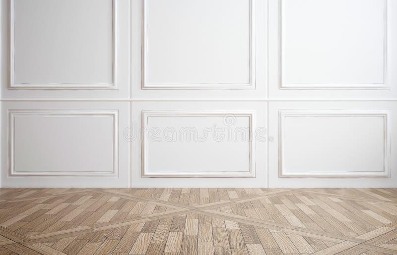 Sala vazia com paneling de madeira branco imagens de stock royalty free