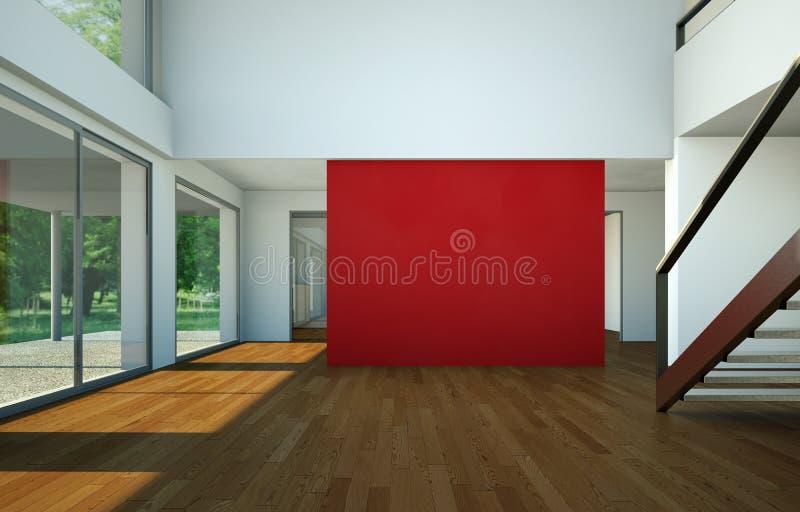 Sala vazia com parede, as janelas e o parquet vermelhos ilustração stock