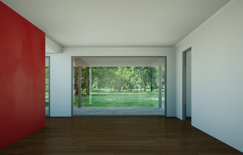 Sala vazia com parede, as janelas e o parquet vermelhos ilustração do vetor