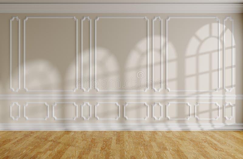 Sala vazia com parede bege, molde, parquet e as janelas arredondadas ilustração royalty free