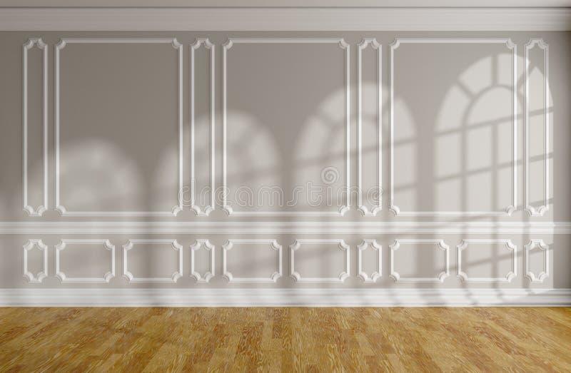 Sala vazia com parede cinzenta, molde, parquet e as janelas arredondadas ilustração do vetor