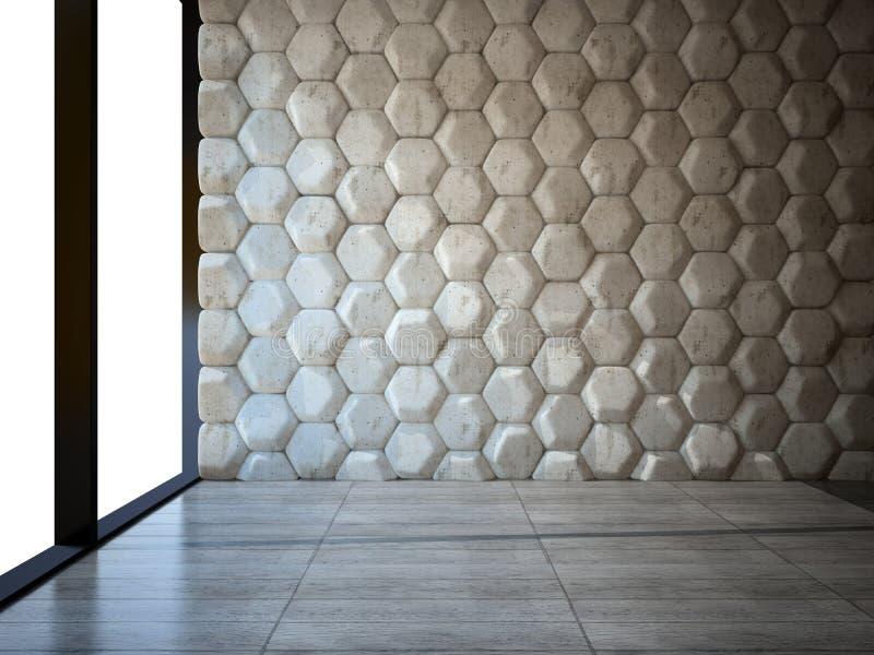 Sala vazia com parede de pedra e assoalho de parquet ilustração do vetor