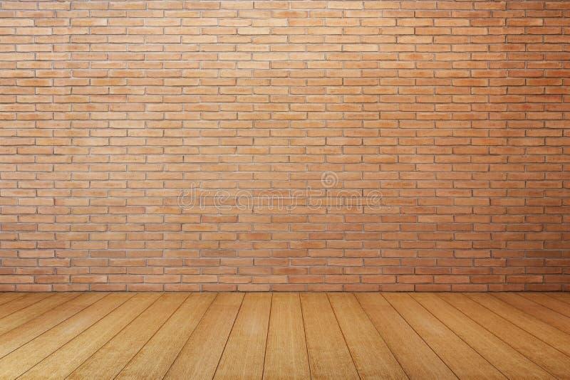 Sala vazia com a parede de tijolo vermelho fotografia de stock royalty free