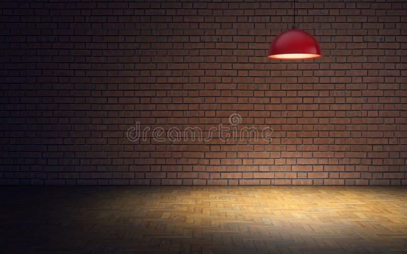 Sala vazia com parede e lâmpada de tijolo rendi??o 3d ilustração stock