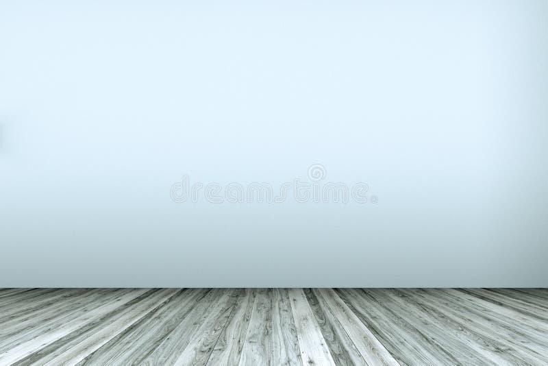 Sala vazia com a parede e o parquet brancos resistidos ilustração do vetor