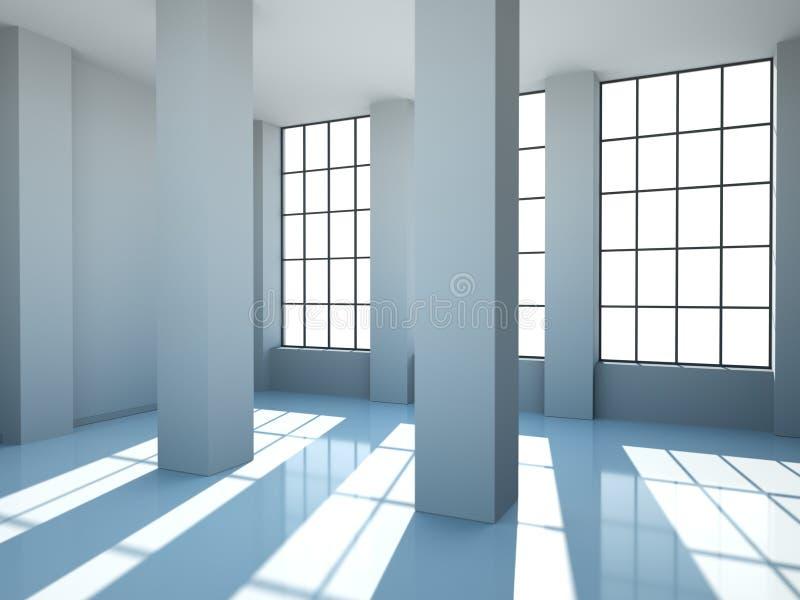 Sala vazia com paredes, as janelas e concreto brancos ilustração stock