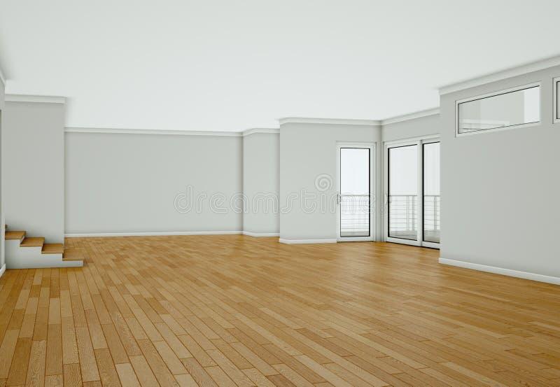 Sala vazia com paredes, as janelas e o parquet brancos ilustração royalty free