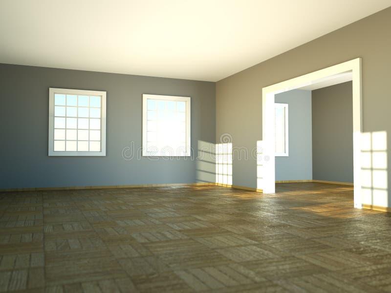 Sala vazia com paredes, as janelas e o parquet brancos ilustração stock