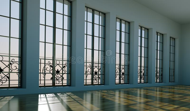 Sala vazia com paredes, as janelas e o parquet brancos ilustração do vetor