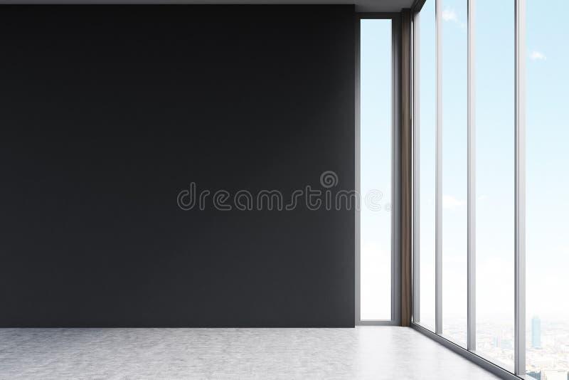 Sala vazia com paredes pretas ilustração stock
