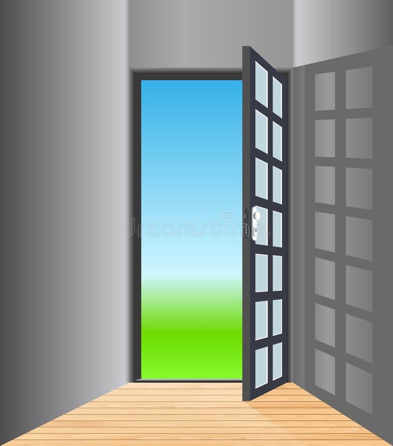 Sala vazia com porta aberta ilustração royalty free