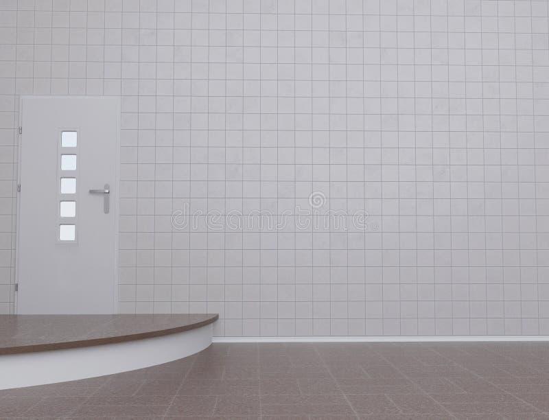 Sala vazia com a porta, 3d ilustração stock
