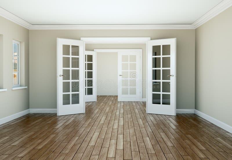 Sala vazia com portas e o parquet brancos ilustração do vetor