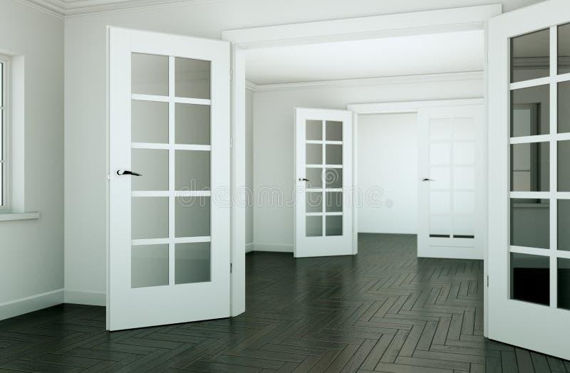 Sala vazia com portas e o parquet brancos ilustração royalty free