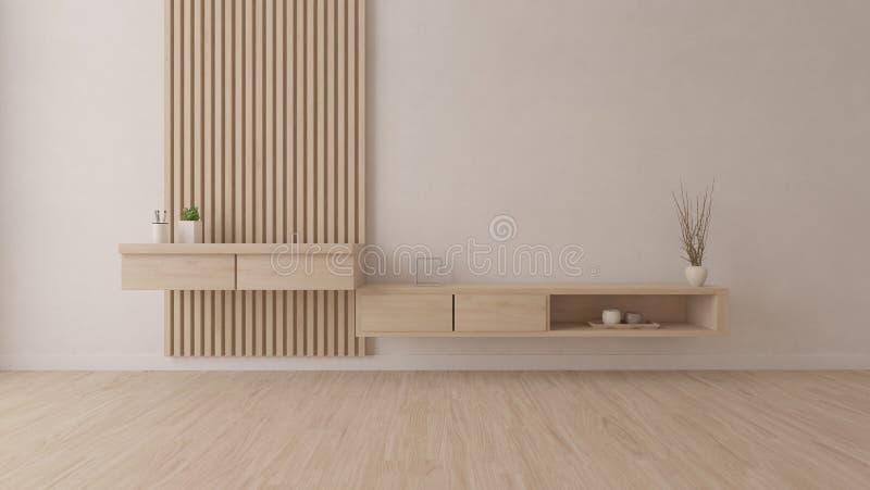 Sala vazia com tabela de madeira ilustração royalty free