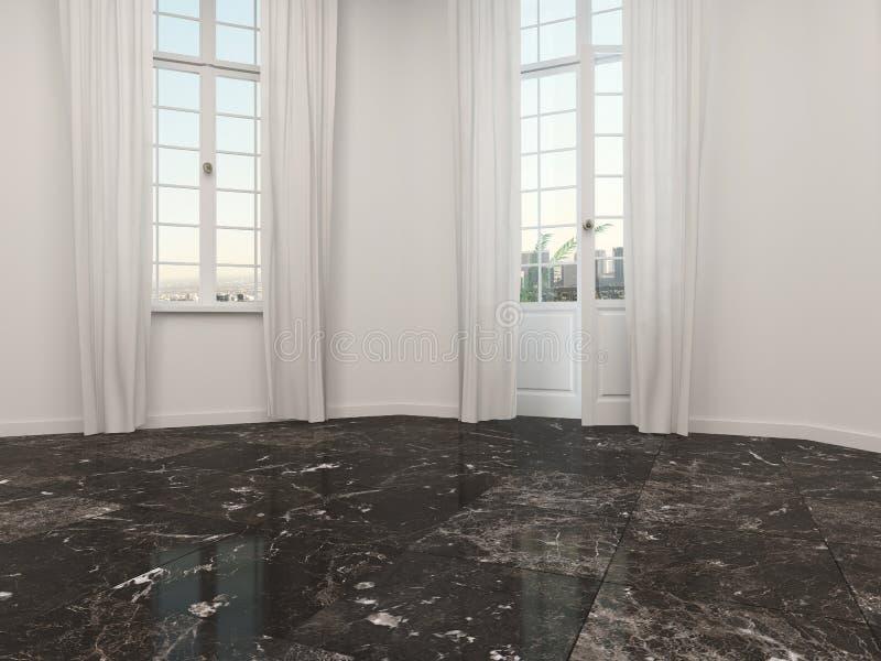 Sala vazia com um assoalho de mármore ilustração royalty free