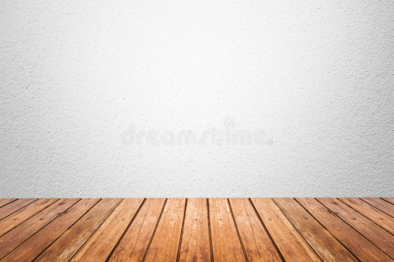 Sala vazia do assoalho branco da parede e da madeira fotos de stock