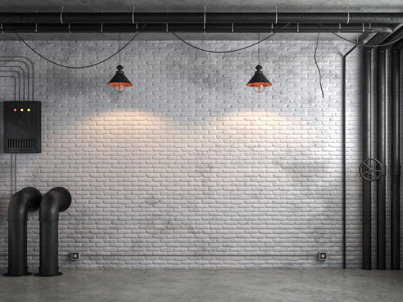 A sala vazia do estilo industrial do sótão com a parede de tijolo branca 3d rende ilustração do vetor