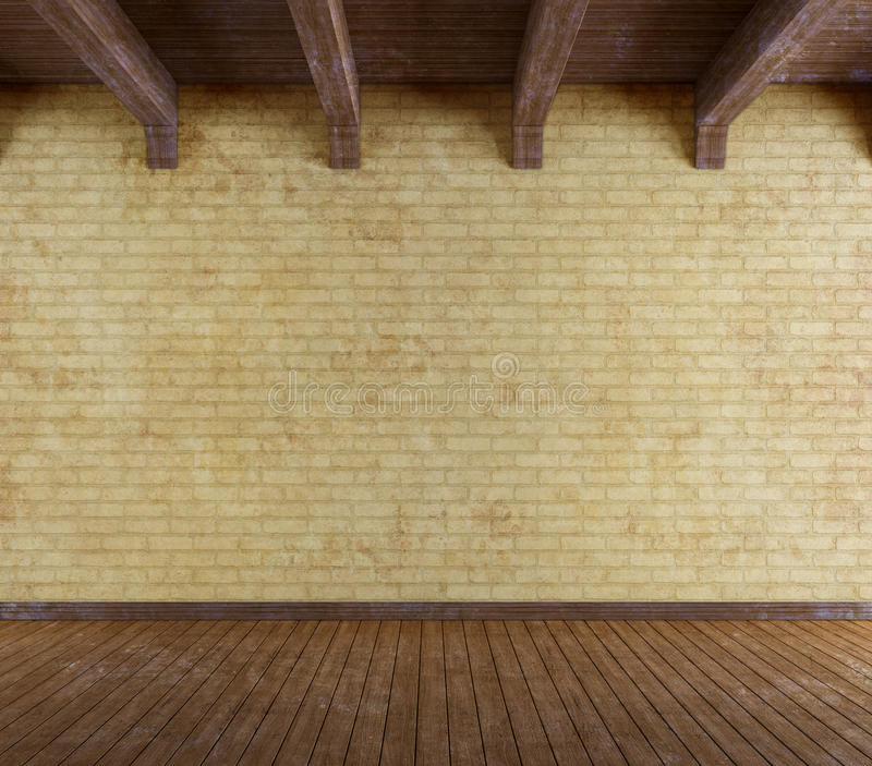 Sala vazia do grunge com a parede de tijolo velha ilustração stock