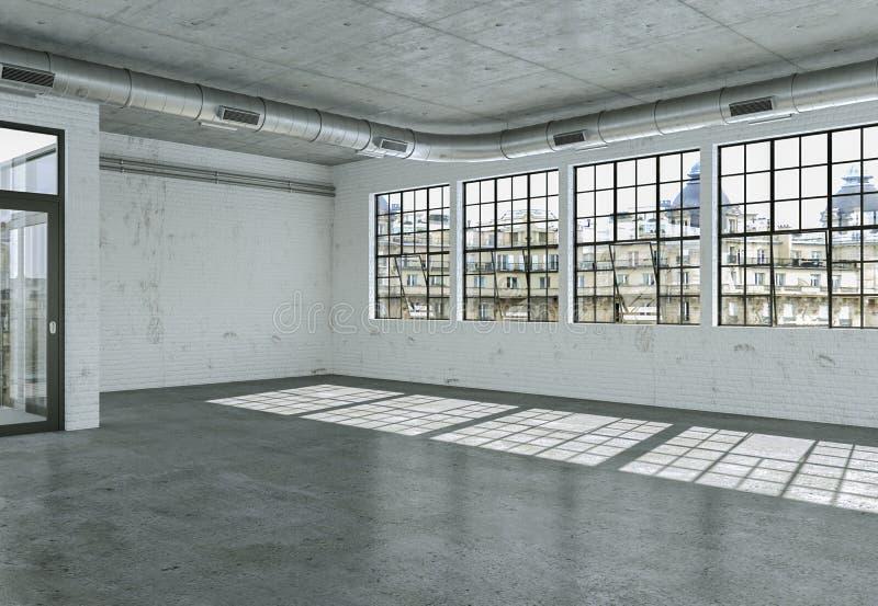 A sala vazia do sótão com branco mura janelas grandes e o assoalho concreto ilustração royalty free