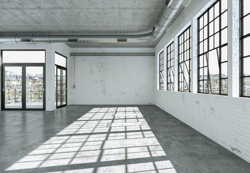 A sala vazia do sótão com branco mura janelas grandes e o assoalho concreto ilustração stock