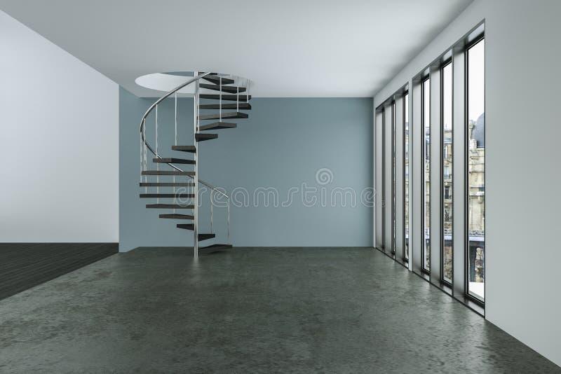 A sala vazia do sótão com branco mura janelas grandes e o assoalho de madeira ilustração stock