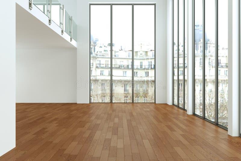 A sala vazia do sótão com branco mura janelas grandes e o assoalho de madeira ilustração do vetor