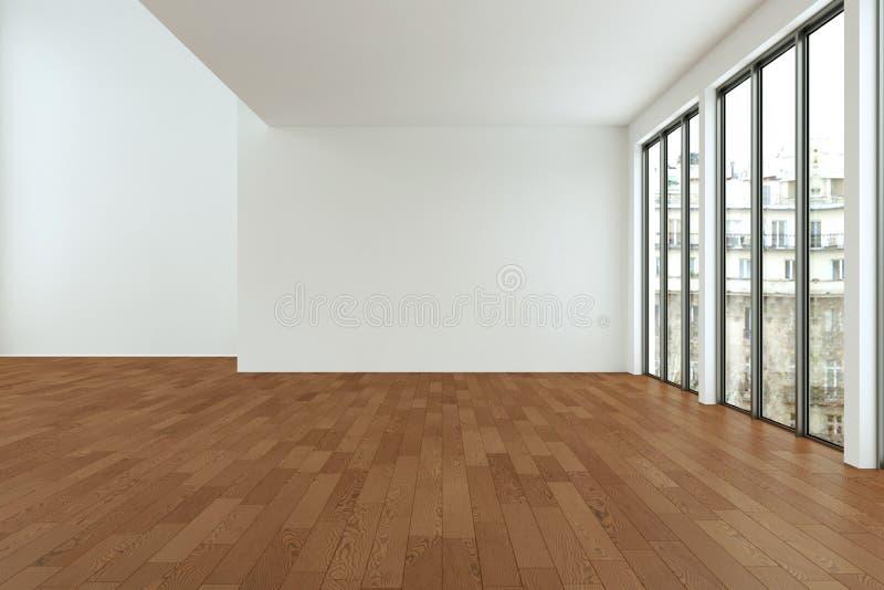 A sala vazia do sótão com branco mura janelas grandes e o assoalho de madeira ilustração royalty free