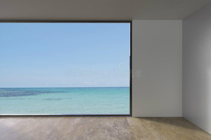 Sala vazia do sótão com a vida da janela interna na opinião do mar imagens de stock