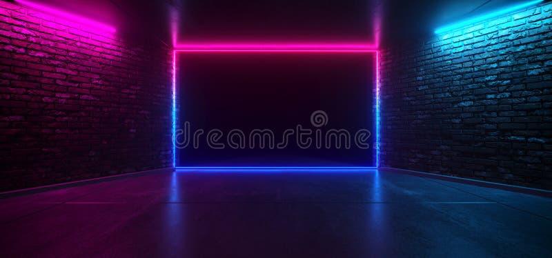 Sala vazia elegante retro de incandescência de néon da fase do rosa azul roxo do clube de dança futurista com a parede de tijolo  ilustração stock