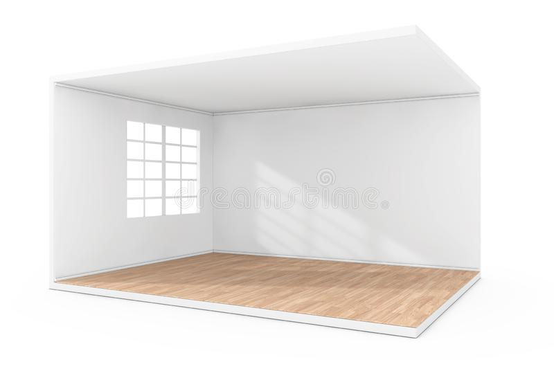 Sala vazia interior com grande janela e o assoalho de parquet de madeira rendi??o 3d ilustração royalty free